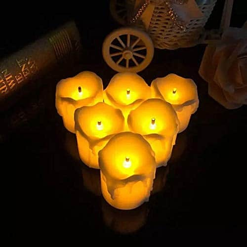 Satyam Kraft Acrylic LED Tea Light Candles (Yellow) -Box of 12 for Diwali Christams Home Decoration Candle Light Dinner Real Look Candle
