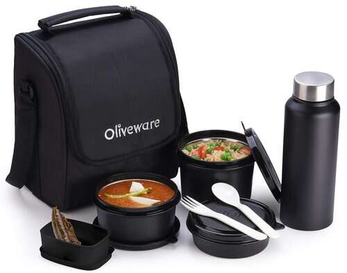 Oliveware Teso Lunch Box with Bottle - Black _ 3 Stainless Steel Containers and Pickle Box and Assorted Steel Bottle _ Insulated Fabric Bag _ Leak Proof Microwave Safe _ Full Meal and Easy to Carry