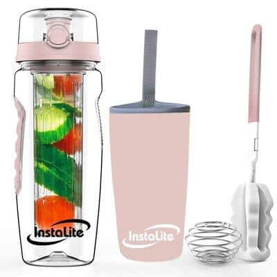 Instalite Tritan Fruit Infuser Water Bottle 1 Litre with BPA Free Material, Free Weight-Loss & Detox Recipe eBook Sleeve & Cleaning Brush (Rose Gold)