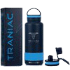 TRANIAC - Train Like A Maniac Double Walled Vacuum Insulated Stainless Steel Flask, Cold Up to 36/Hot 13 Hours, Extra Sports Mode Lid Included, Thermos Bottle, 1000 ml/1 Litre, Matte Black