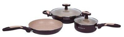 Wonderchef Burlington Aluminum Nonstick Cookware Set, 5 Piece Set, Maroon_Beige (1)