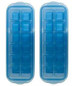 InddusHome® Small POP-UP Ice Cube Tray with Flexible Silicon Bottom and Lid, 12 Cube Trays (Multicolor - Pack of 2)