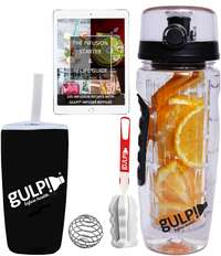 gulp Fruit Infuser Water Bottle 1 Litre, Tritan Unit with Infusion Rod, 235 Detox Infused Recipes ebook, Protein Shaker Mixer, Brush, Carry Sleeve