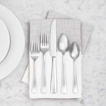 AmazonBasics Cutlery 20-Piece Stainless Steel Flatware Silverware Set with Square Edge, Service for 4