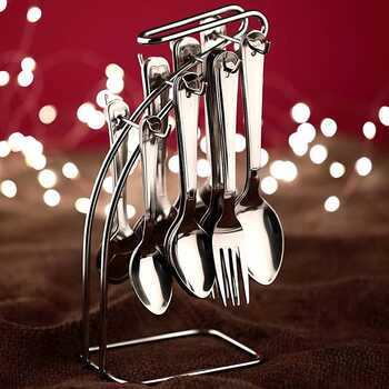 Crystal - MKA231A Stainless Steel Cutlery Set, 24-Pieces, Silver