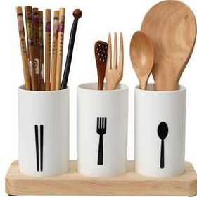 KITOME Plastic Self Draining Tableware Storage Box - Spoon, Knife, Fork, Chopstick, Cutlery Holder_Organizer Stand for Kitchen, Dining Table (White)