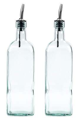 Crystalware Glass Oil Dispenser, 1000milliliters, Pack of 2, Clear