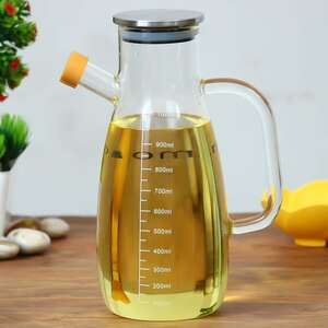 Femora Borosilicate Oil Dispenser and Stoppers Bottle with Handle, 1 L