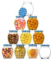 Star Work Air Tight Matka Glass Jars   Kitchen Accessories Transparent Containers for Storage of Spices Masala and Food Pack of 6 (Blue 400 ml)