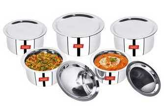 Sumeet Stainless Steel Cookware Set With Lid, 1 L to 3 L, 10 Piece (White)