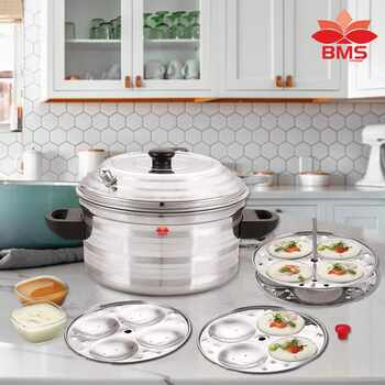 BMS LIFESTYLE Stainless Steel 4-Plates Idly Cooker, Induction & Gas Stove Compatible Idli Maker (4-Plates   16 IDLI)
