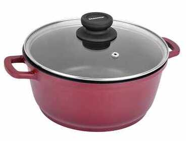 Bergner Scarlett Cast Aluminium Non-Stick Dutch Oven with Glass Lid, 28 cm, 4.6 Litres, Induction Base, Maroon