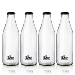 Mr. Butler Glass Bottle with Extra Caps, 1000ml, 4 Pack, Clear
