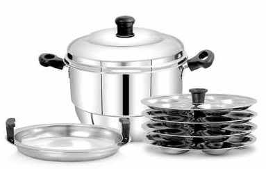 Pigeon - Hot 24 Stainless Steel Idly Pot with Steamer, Capacity:7500ml, Silver