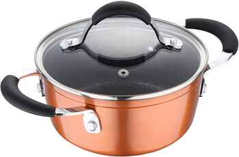 Bergner Infinity Chefs Forged Aluminium Non-Stick Casserole with Glass Lid (24 cm, 3.9 litres, Induction Base, Copper)