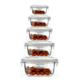 Femora Borosilicate Glass Microwave Safe Square Food Storage Container with Air Vent Lid, 180ml, 300ml, 500ml, 800ml, 1200ml, Set of 5