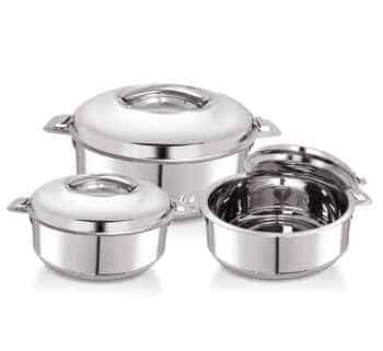 WARMEO Stainless Steel Solid Casserole - 1500 ml, 2500 ml, 3500 ml, Set of 3, Silver