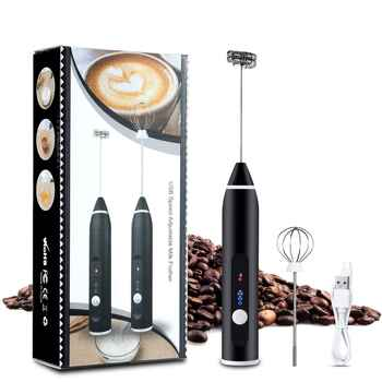 amiciKart Milk Frother USB Rechargeable Handheld Form Maker 3-Speed Adjustable for Latte Coffee Cappuccino with Egg Mixer and USB Charging Cable